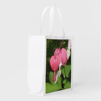 Floral Bleeding Heart - Re Usable Lightweight Reusable Grocery Bag