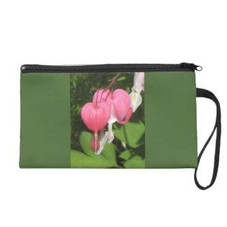 Floral Bleeding Heart - Satin Fabric Wristlet Bag