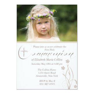 Floral Blessing Photo First Holy Communion  Invita 5x7 Paper Invitation Card