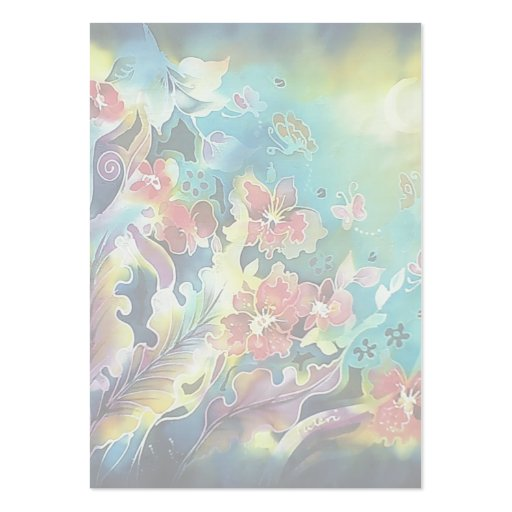 Floral Bliss Under the Moons Light Silk Painting Large Business Card