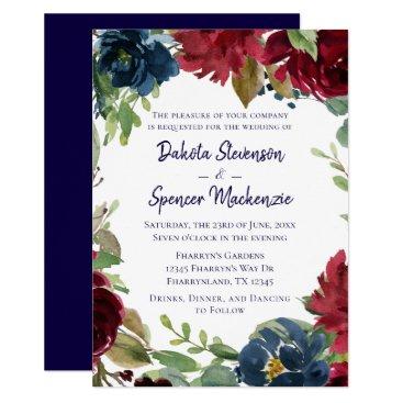 Wedding Themed Floral Bloom | Navy Blue Burgundy Marsala Blush Card
