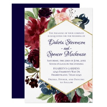 Wedding Themed Floral Bloom | Navy Blue Marsala Burgundy Blush Card