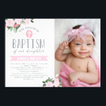 "Floral Blooms | Baptism Invitation<br><div class=""desc"">Customizable baptism invitation with photo featuring watercolor flowers on a kraft paper background.</div>"