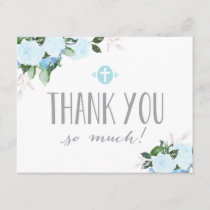 Floral Blooms Blue Religious Flat Thank You Card