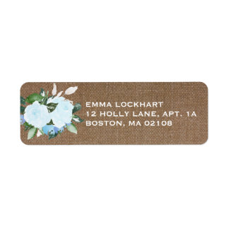 Floral Blooms Burlap Return Address Label