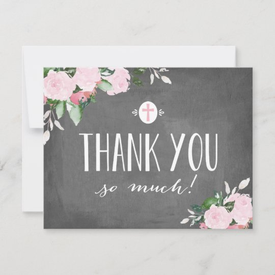 Floral Blooms Chalkboard Religious Thank You Card Zazzle Com