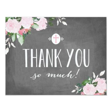 religious Floral Blooms Chalkboard Religious Thank You Card