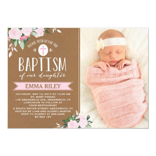 floral blooms kraft baby girl baptism invitation zazzle com