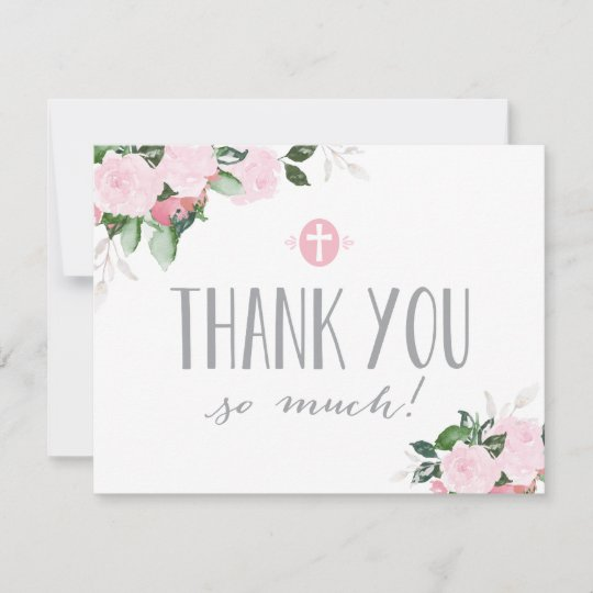 Floral Blooms Religious Thank You Card With Photo Zazzle Com