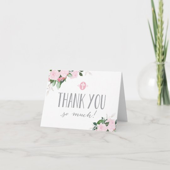 Floral Blooms White Religious Thank You Card Zazzle Com
