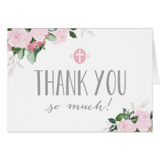 Floral Blooms White Religious Thank You Card