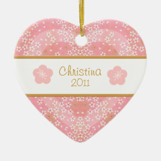 Floral Blossom Heart Name and Photo Ornament