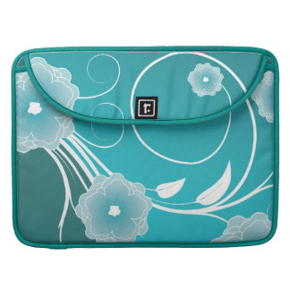 Floral Blossoms & Swirls in Blue-Green Sleeve For MacBook Pro