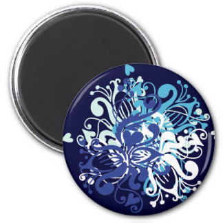 Floral Blue 2 Inch Round Magnet