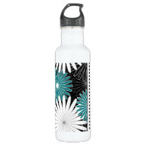 floral blue add your name water bottle