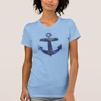 Floral blue anchor girls t-shirt