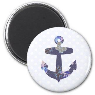 Floral blue anchor magnet