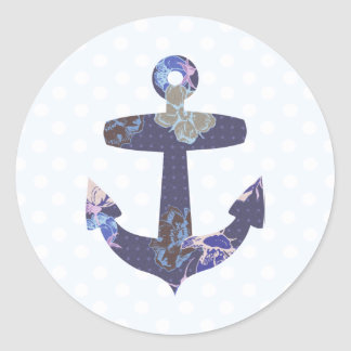 Floral blue anchor stickers