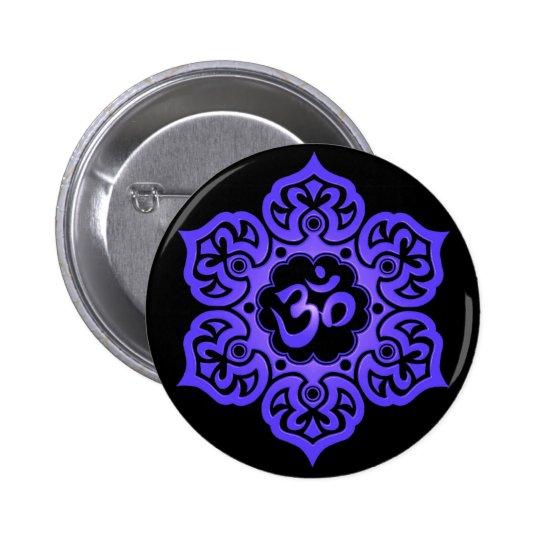 Floral Blue and Black Aum Design Pinback Button