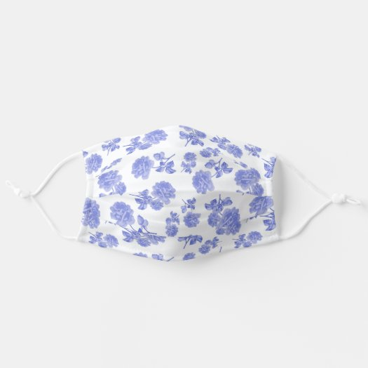 Floral Blue and White China Roses Flower Face Mask