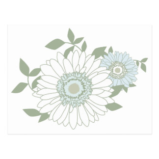 Floral Blue and White Daisy Flowers Blank Postcard
