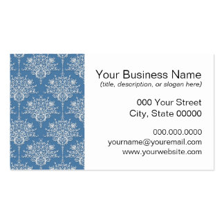 Floral Blue and White Damask Business Card Template