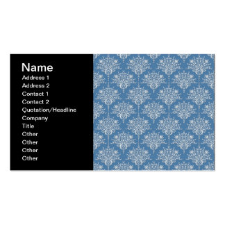 Floral Blue and White Damask Business Cards