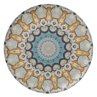 Floral Blue and yellow mediallion rosette No. 23 Dinner Plate