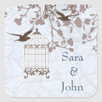 floral blue bird cage, love birds envelope seal