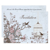 floral blue bird cage, love birds invites
