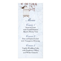 floral blue bird cage, love birds Menu Cards