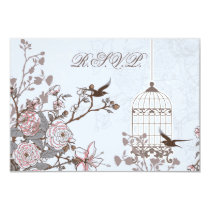 floral blue bird cage, love birds RSVP 3.5 x 5 Card