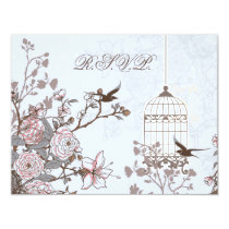 floral blue bird cage, love birds RSVP Card