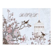 floral blue bird cage, love birds RSVP Postcard