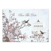 floral blue bird cage, love birds save the dates card