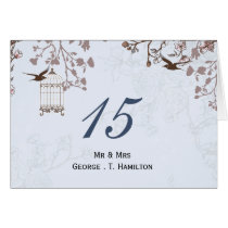floral blue bird cage, love birds table numbers card