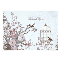 Floral blue bird cage, love birds Thank You Card