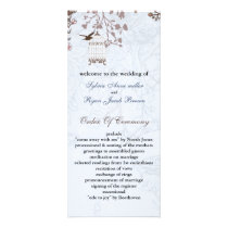 floral blue bird cage, love birds wedding programs