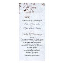 floral blue bird cage, love birds wedding programs