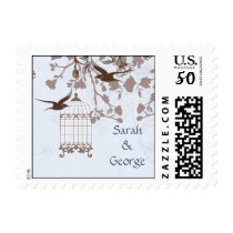 floral blue bird cage, love birds wedding stamps
