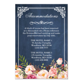 Floral Blue Chalkboard Accommodation Reception Card
