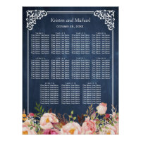 Floral Blue Chalkboard Wedding Seating Chart
