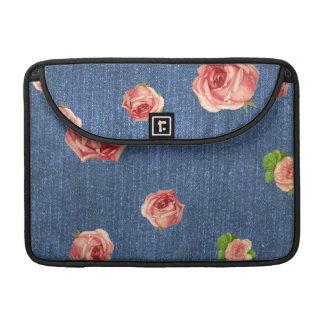 Floral Blue Denim Monogram Sleeve For MacBook Pro