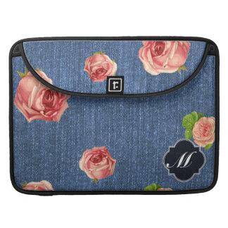 Floral Blue Denim Monogram Sleeve For MacBooks