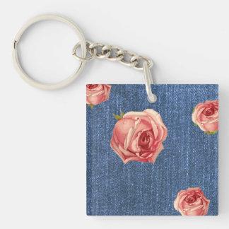 Floral Blue Denim Monogram template Keychain