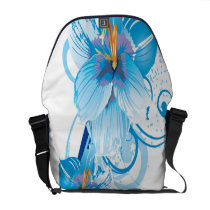 floral blue elegance courier bag