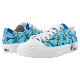Floral blue flowers-unique custom sneakers/shoes printed shoes