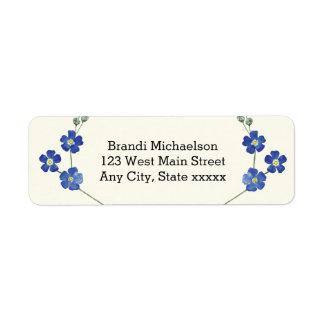 Floral Blue Forget Me Nots Watercolor Flower Label