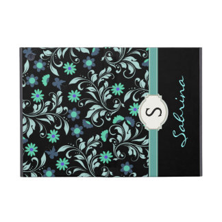 Floral Blue Girls Monogram Folio Covers For iPad Mini