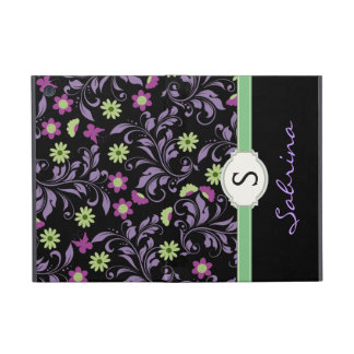 Floral Blue Girls Monogram Folio Cover For iPad Mini